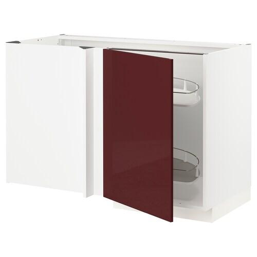 เมท็อด ตู้ตั้งพื้นเข้ามุม+ตะแกรงลิ้นชัก  ขาว แคลลาร์ป/ไฮกลอส สีแดงอมน้ำตาลเข้ม 127.5 ซม. 68.0 ซม. 69.1 ซม. 80.0 ซม.