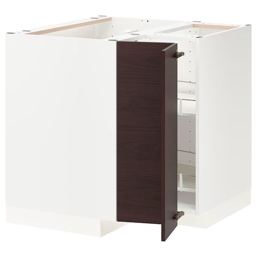 เมท็อด ตู้พื้นเข้ามุม+ตะแกรงหมุน ขาว อัสเคอร์ชุนด์/น้ำตาลเข้ม ลายแอช 87.5 ซม. 87.5 ซม. 80.0 ซม.