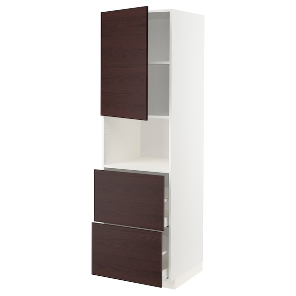 METOD เมท็อด / MAXIMERA มักซีเมอร่า ตู้สูงใส่ไมโครเวฟ/บานตู้/2ลิ้นชัก, ขาว อัสเคอร์ชุนด์/น้ำตาลเข้ม ลายแอช, 60x60x200 ซม.