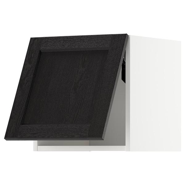 METOD เมท็อด ตู้แขวนแนวนอน, ขาว/เลียร์ฮึตตัน ย้อมสีดำ, 40x37x40 ซม.