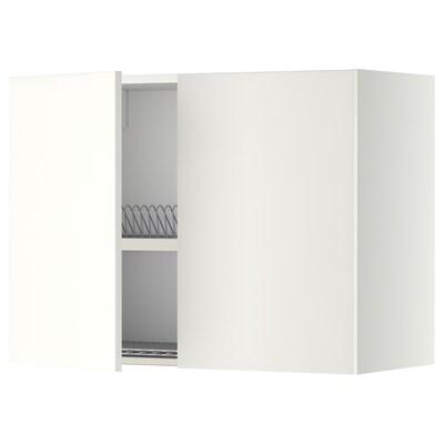 METOD เมท็อด ตู้แขวนบานคู่+ที่คว่ำจาน, ขาว/แฮกเกบือ ขาว, 80x37x60 ซม.