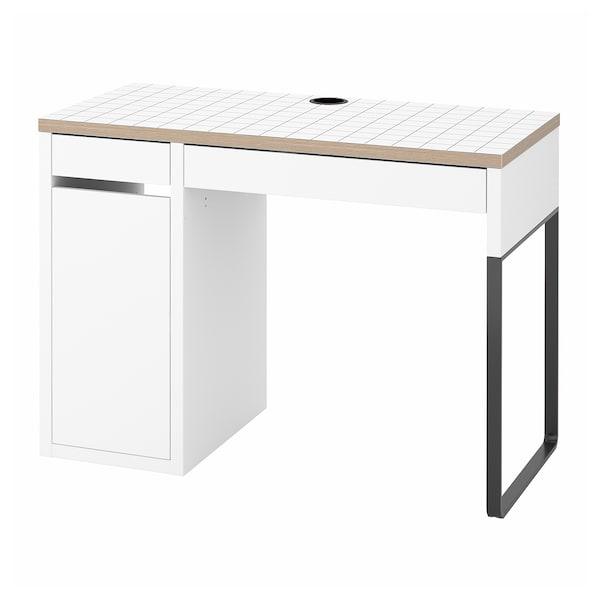 MICKE มิคเก้ โต๊ะทำงาน, ขาว/สีแอนทราไซต์, 105x50 ซม.
