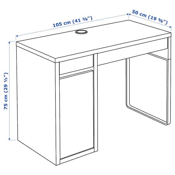 MICKE มิคเก้ โต๊ะทำงาน, ขาว/สีไลท์เทอร์ควอยซ์, 105x50 ซม.