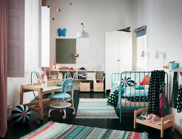 MINNEN มินเน่น โครงเตียงขยาย+พื้นระแนง, สีเทอร์ควอยซ์, 80x200 ซม.