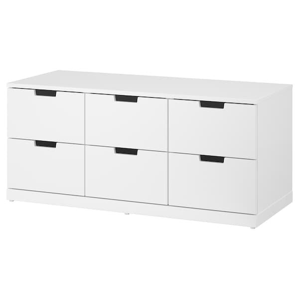 NORDLI นูร์ดลี ตู้ 6 ลิ้นชัก, ขาว, 120x54 ซม.