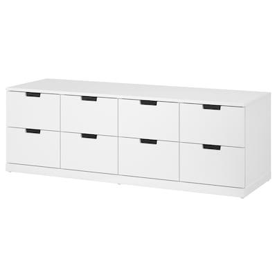 NORDLI นูร์ดลี ตู้ 8 ลิ้นชัก, ขาว, 160x54 ซม.