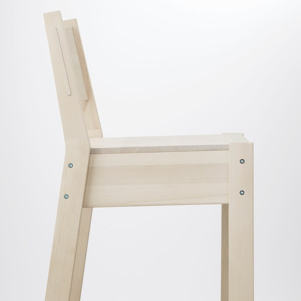 NORRÅKER นูร์ร็อกเกร์ เก้าอี้บาร์มีพนัก, ไม้เบิร์ช, 74 ซม.