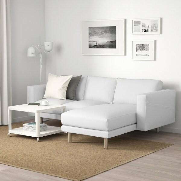 NORSBORG นอร์ชบอร์ย โซฟา3ที่นั่ง, +เก้าอี้นวมตัวยาว/ฟินน์สตา ขาว/เหล็ก