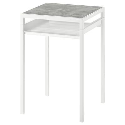 NYBODA นือบอดา โต๊ะข้าง+ท็อปแบบใช้ได้2ด้าน, เทาอ่อน ลายคอนกรีต/ขาว, 40x40x60 ซม.