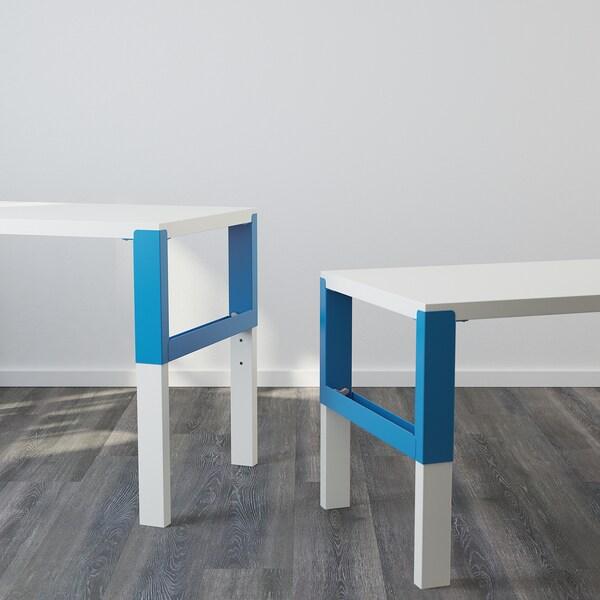PÅHL พอห์ล โต๊ะทำงาน, ขาว/น้ำเงิน, 128x58 ซม.