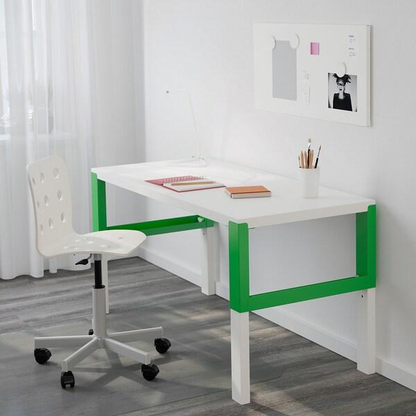PÅHL พอห์ล โต๊ะทำงาน, ขาว/เขียว, 128x58 ซม.