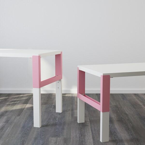 PÅHL พอห์ล โต๊ะทำงาน, ขาว/ชมพู, 128x58 ซม.