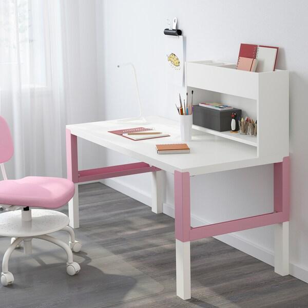 PÅHL พอห์ล โต๊ะพร้อมชั้นวางบนโต๊ะ, ขาว/ชมพู, 128x58 ซม.