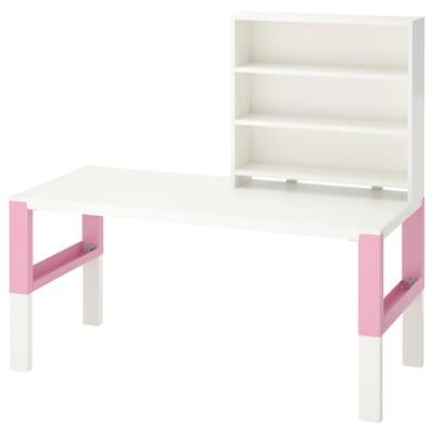 PÅHL พอห์ล โต๊ะพร้อมชั้นวางของ, ขาว/ชมพู, 128x58 ซม.
