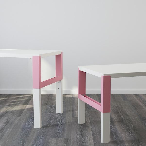 PÅHL พอห์ล โต๊ะพร้อมชั้นวางของ, ขาว/ชมพู, 96x58 ซม.