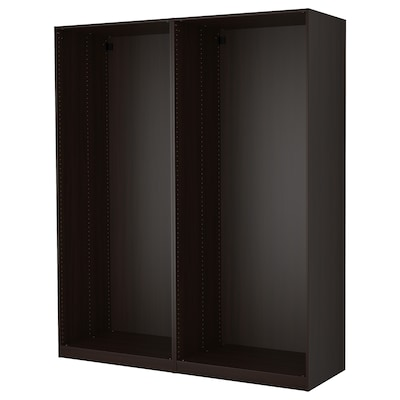 PAX พักซ์ โครงตู้เสื้อผ้าคู่, น้ำตาลดำ, 200x58x236 ซม.