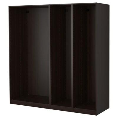 PAX พักซ์ โครงตู้เสื้อผ้า 3 ใบ, น้ำตาลดำ, 200x58x201 ซม.