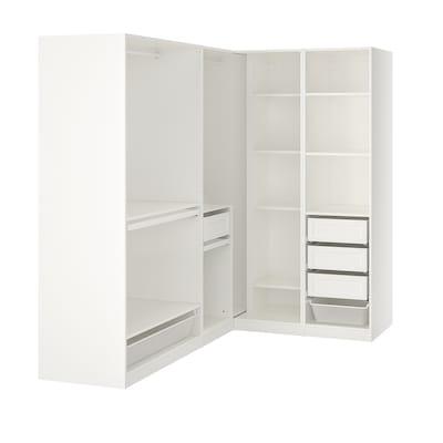 PAX พักซ์ ตู้เสื้อผ้าเข้ามุม, ขาว, 210/160x201 ซม.