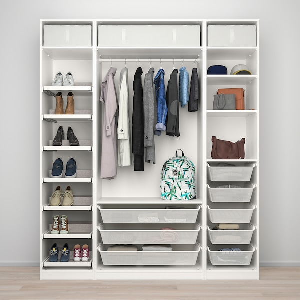 PAX พักซ์ / REINSVOLL รีนสวอลล์ ชุดตู้เสื้อผ้า, ขาว/เบจ-เทา, 200x60x236 ซม.