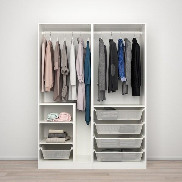 PAX พักซ์ / SEKKEN เซคเก้น ชุดตู้เสื้อผ้า, ขาว/กระจกฝ้า, 150x66x201 ซม.