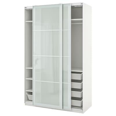 PAX พักซ์ / SEKKEN เซคเก้น ชุดตู้เสื้อผ้า, ขาว/กระจกฝ้า, 150x66x236 ซม.