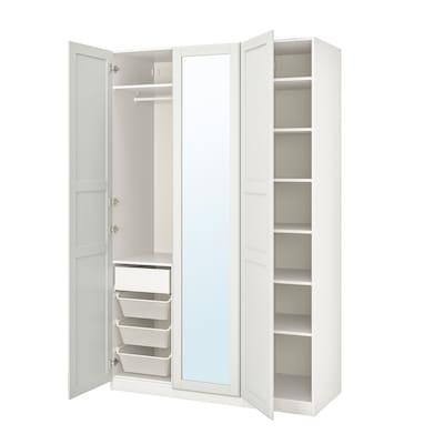 PAX พักซ์ / TYSSEDAL ทืสเซียดอล ชุดตู้เสื้อผ้า, ขาว/กระจก, 150x60x236 ซม.
