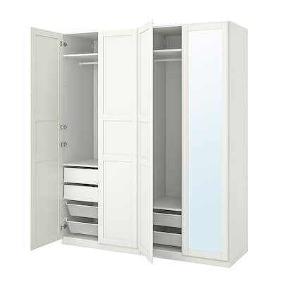 PAX พักซ์ / TYSSEDAL ทืสเซียดอล ชุดตู้เสื้อผ้า, ขาว/กระจก, 200x60x236 ซม.