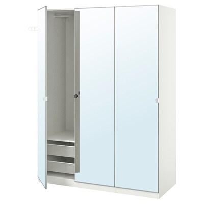 PAX พักซ์ / VIKEDAL วีเคดอล ชุดตู้เสื้อผ้า, ขาว/กระจก, 150x60x201 ซม.
