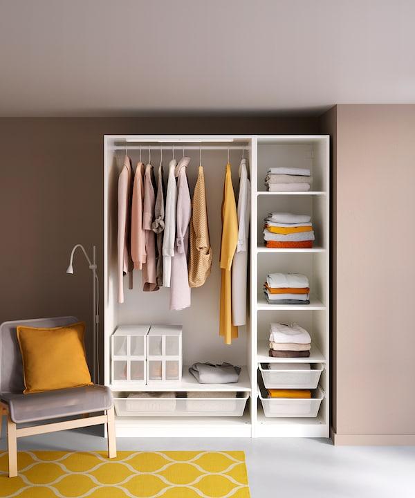 PAX พักซ์ ชุดตู้เสื้อผ้า, ขาว, 150x58x201 ซม.