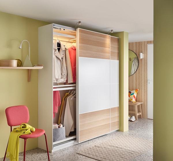 PAX พักซ์ โครงตู้เสื้อผ้า, ขาว, 100x35x201 ซม.