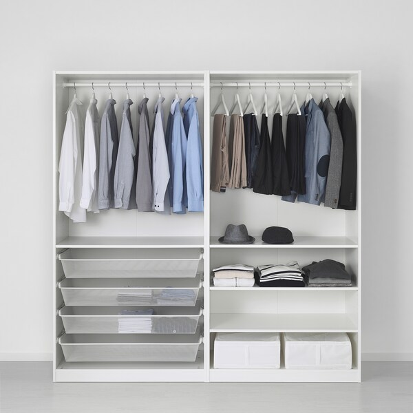 PAX พักซ์ ตู้เสื้อผ้า, เมฮัมน์ ลายไม้โอ๊ค/เทาอ่อน, 200x66x201 ซม.