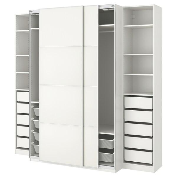 PAX พักซ์ ตู้เสื้อผ้า, ขาว/เมฮัมน์, 250x66x236 ซม.