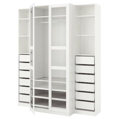 PAX พักซ์ ตู้เสื้อผ้า, ขาว/ทืสเซียดอล แก้ว, 200x60x236 ซม.