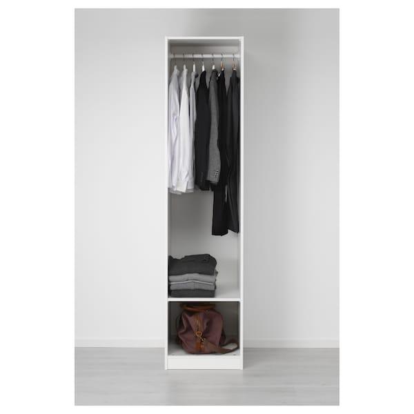 PAX พักซ์ ตู้เสื้อผ้า, ขาว/วีเคดอล กระจก, 50x60x201 ซม.