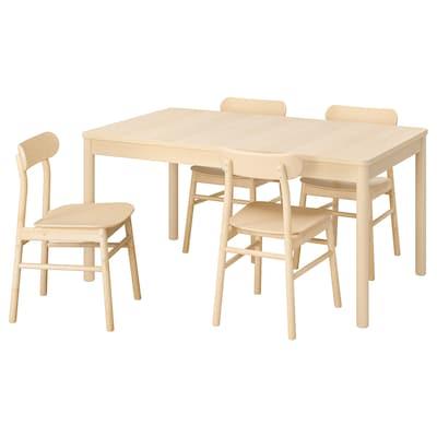 RÖNNINGE เรินนิงเง / RÖNNINGE เรินนิงเง โต๊ะและเก้าอี้ 4 ตัว, ไม้เบิร์ช/ไม้เบิร์ช, 155/210x90x75 ซม.