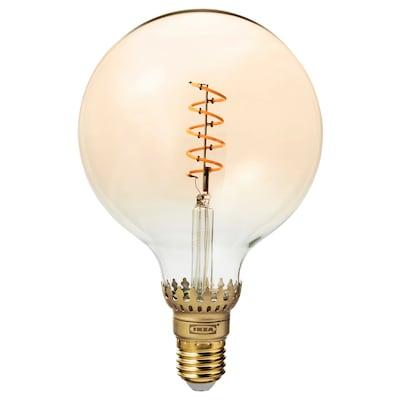 ROLLSBO โรลล์สบู หลอดไฟ LED E27 300 ลูเมน, หรี่ไฟได้/หลอดหลม แก้วใสสีน้ำตาล, 125 มม.