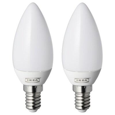 RYET รีเอ็ท หลอดไฟ LED E14 250 ลูเมน, หลอดจำปา แก้วฝ้า, 2 ชิ้น