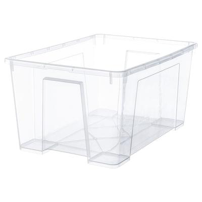 SAMLA ซัมล่า กล่องพลาสติก, ใส, 56x39x28 ซม./45 ลิตร