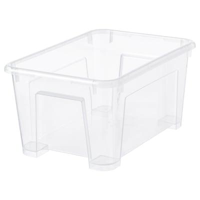 SAMLA ซัมล่า กล่องพลาสติก, ใส, 28x19x14 ซม./5 ลิตร