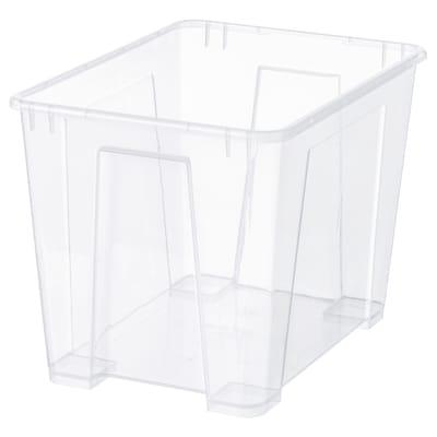 SAMLA ซัมล่า กล่องพลาสติก, ใส, 39x28x28 ซม./22 ลิตร