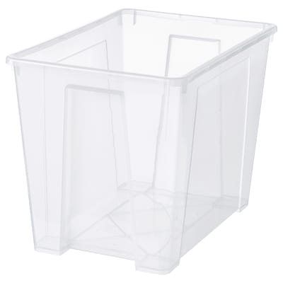 SAMLA ซัมล่า กล่องพลาสติก, ใส, 56x39x42 ซม./65 ลิตร