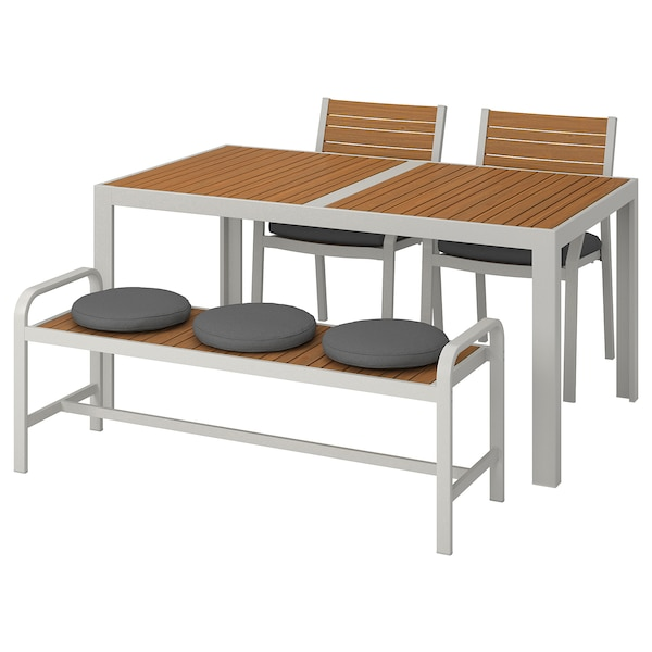 SJÄLLAND แควลันด์ โต๊ะ+เก้าอี้ 2 ตัว+ม้านั่ง กลางแจ้ง, น้ำตาลอ่อน/ฟรัวเซิน/ดูฟโฮลเมน เทาเข้ม, 156x90 ซม.
