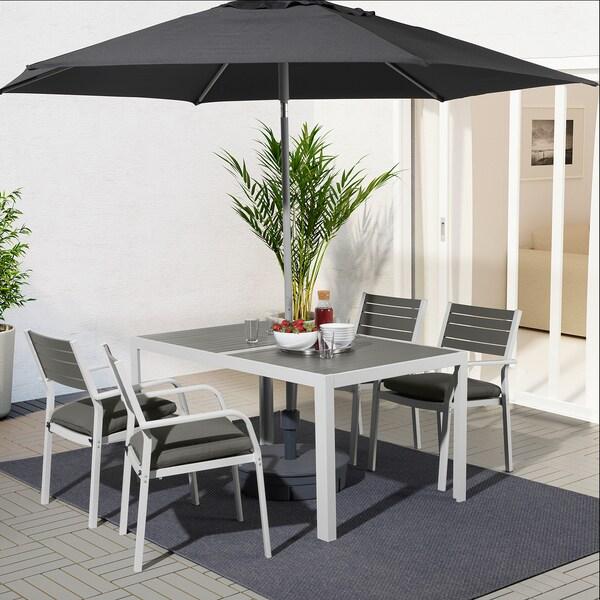 SJÄLLAND แควลันด์ โต๊ะ+เก้าอี้วางแขน4ตัว กลางแจ้ง, เทาเข้ม/ฟรัวเซิน/ดูฟโฮลเมน เทาเข้ม, 156x90 ซม.