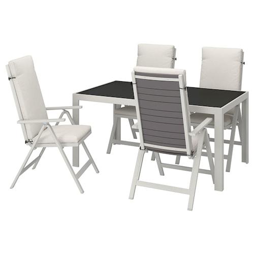 แควลันด์ โต๊ะ+เก้าอี้ปรับเอนได้4ตัว กลางแจ้ง แก้ว/ฟรัวเซิน/ดูฟโฮลเมน เบจ 156 ซม. 90 ซม. 73 ซม.