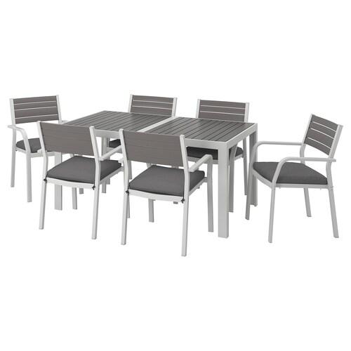แควลันด์ โต๊ะ+เก้าอี้มีแขน6ตัว กลางแจ้ง เทาเข้ม/ฟรัวเซิน/ดูฟโฮลเมน เทาเข้ม 156 ซม. 90 ซม. 73 ซม.
