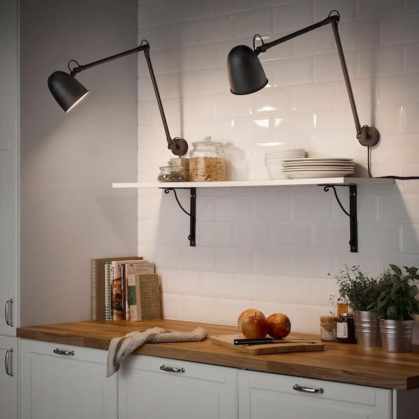 SKURUP สกูรุพ โคมไฟโต๊ะทำงาน/โคมไฟผนัง, ดำ