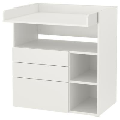 SMÅSTAD สมวสตัด โต๊ะเปลี่ยนผ้าอ้อม, ขาว ขาว/พร้อม 3 ลิ้นชัก, 90x79x100 ซม.