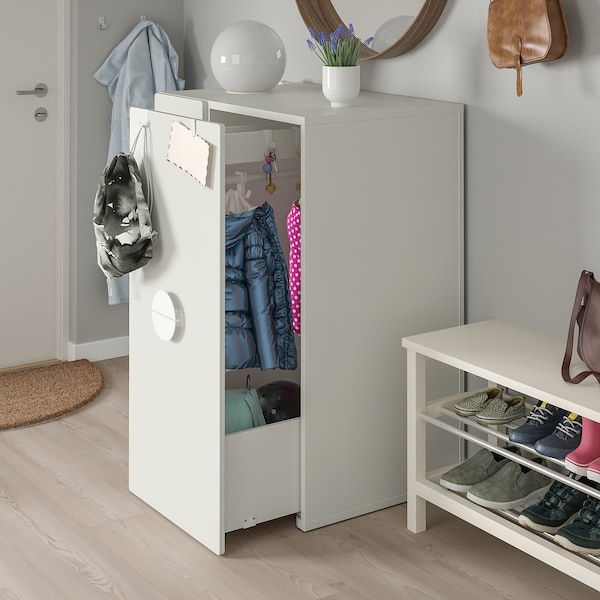 SMÅSTAD สมวสตัด ตู้เสื้อผ้าพร้อมกล่องลิ้นชักใส่ของ, ขาว, 80x57x108 ซม.