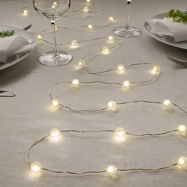 SNÖYRA สเนยรา ไฟประดับ LED 40 ดวง, ใช้ในบ้าน/ใช้แบตเตอรี สีเงิน