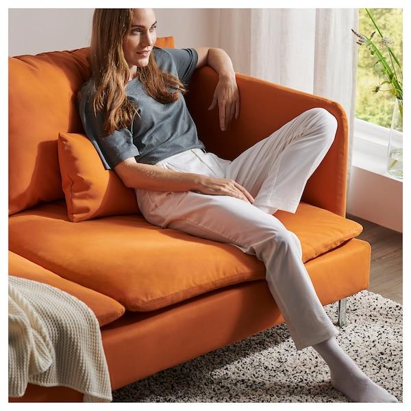 SÖDERHAMN เซอเดอร์ฮัมน์ โซฟา4ที่นั่ง, +เก้าอี้นวมตัวยาว/ซัมสตา สีส้ม